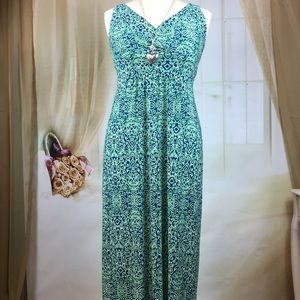 Chaps Blue and Green Maxi Sleeveless Dress